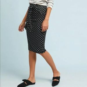 Bailey Anthro Polka Dot High Waist Tie Skirt B&W